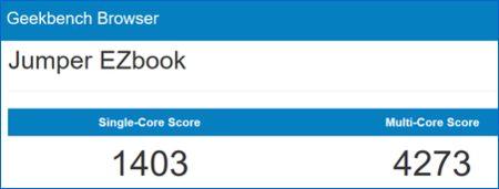 Jumper EZBook 3 Pro Geekbench result 1