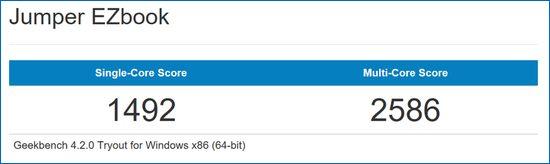 Jumper EZBook 3SE  Celeron N3350 Geekbench 4