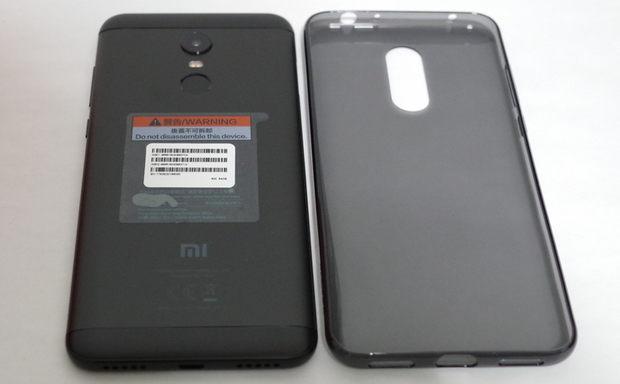 Xiaomi Redmi 5 Plus 背面と付属のTPUケース